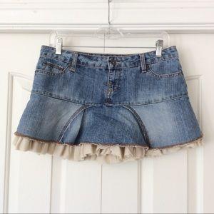 Vintage Jordache Medium Denim Mini Skirt w/Ruffles
